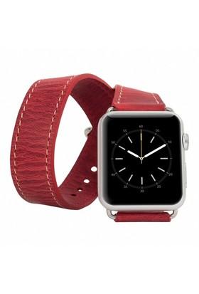 Burkley Apple Watch Çift Tur Antique Red Gerçek Deri Kordon (42 Mm)
