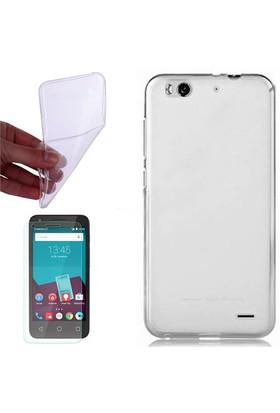 Cep Market Vodafone Smart 6 Kılıf 0.2Mm Şeffaf Silikon + Cam