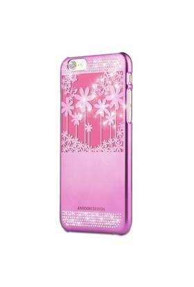 Joyroom Flower iPhone 6-6S Taşlı Pembe Rubber Kılıf