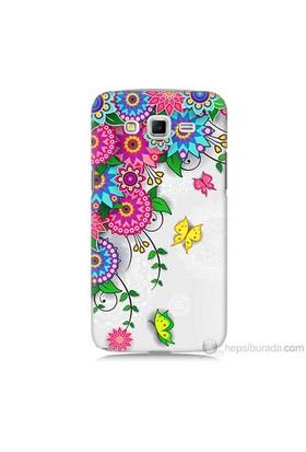 Teknomeg Samsung Galaxy Grand 2 Kapak Kılıf Çiçek Ve Kelebek Baskılı Silikon