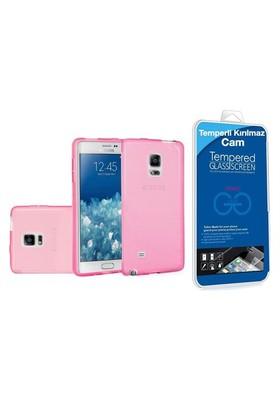 Teleplus Samsung Galaxy Note Edge Silikon Kılıf Pembe + Temperli Cam Ekran Koruyucu