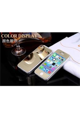 Teleplus İphone 4S Renkli Cam Ekran Koruyucu Ön + Arka Cam Ekran Koruyucu Gold