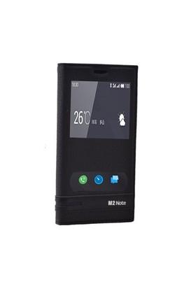 Teleplus Meizu M2 Note Mıknatıslı Çift Pencereli Kılıf Siyah