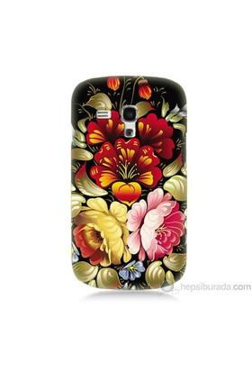Teknomeg Samsung Galaxy S3 Mini Kılıf Kapak Çiçekler Baskılı Silikon