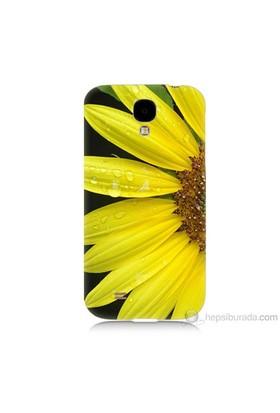 Teknomeg Samsung Galaxy S4 Kapak Kılıf Sarı Çiçek Baskılı Silikon