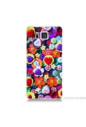 Teknomeg Samsung Galaxy Alpha Kapak Kılıf Düğmeler Baskılı Silikon