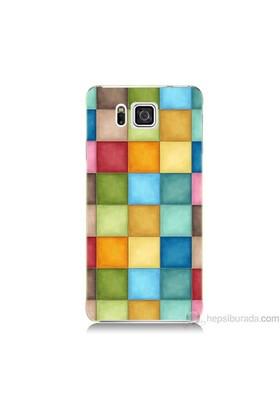Teknomeg Samsung Galaxy Alpha Kapak Kılıf Renkli Kareler Baskılı Silikon