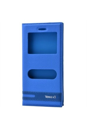 Teleplus Vestel Venüs V3 5070 Çift Pencereli Kılıf Mavi