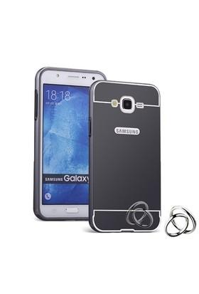 Teleplus Samsung Galaxy J1 Ace Aynalı Metal Kapak Kılıf Siyah