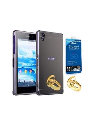 Teleplus Sony Xperia Z2 Aynalı Metal Kapak Kılıf Siyah + Cam Ekran Koruyucu