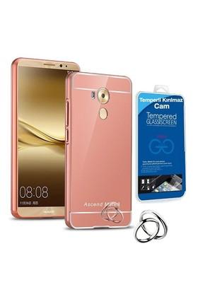 Teleplus Huawei Mate 8 Aynalı Metal Kapak Kılıf Rose Gold + Cam Ekran Koruyucu