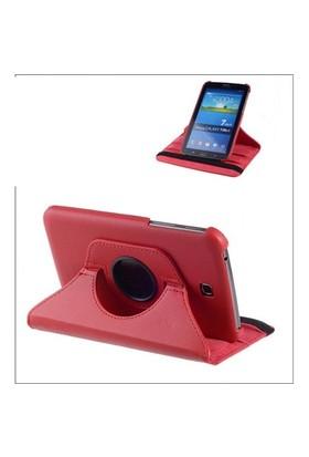 """Qapaq Samsung Galaxy 7"""" T110 & T112 360 Derece Dönebilir Kırmızı Kılıfuz244434009432"""