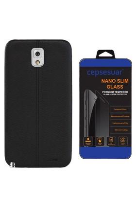 Cepsesuar Samsung Galaxy Note 3 Kılıf Silikon Dikişli Siyah + Cam