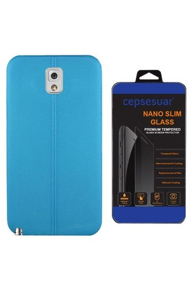Cepsesuar Samsung Galaxy Note 3 Kılıf Silikon Dikişli Mavi + Cam