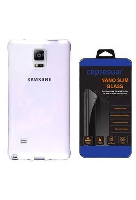 Cepsesuar Samsung Galaxy Note 4 Kılıf Silikon 0.2 Mm Şeffaf + Cam