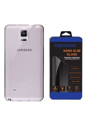 Cepsesuar Samsung Galaxy Note 4 Kılıf Silikon 0.2 Mm Siyah + Cam