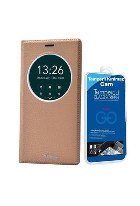 Teleplus Zenfone 2 Laser 6 İnç Pencereli Lüx Kılıf Sarı + Temperli Cam Ekran Koruyucu