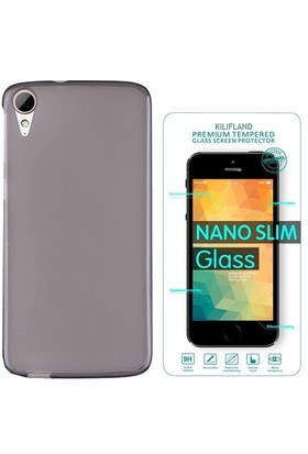 Exclusive Phone Case Desire HTC 828 Kılıf 0.2 Silikon Siyah+Tempered Glass