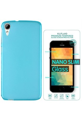 Exclusive Phone Case Desire HTC 828 Kılıf 0.2 Silikon Mavi+Tempered Glass