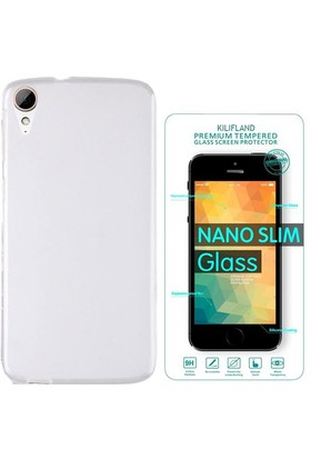 Exclusive Phone Case Desire HTC 820 Kılıf 0.2 Silikon Şeffaf+Tempered Glass