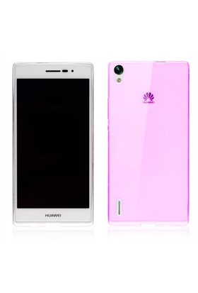 Microsonic Transparent Soft Huawei Ascend P7 Kılıf Pembe