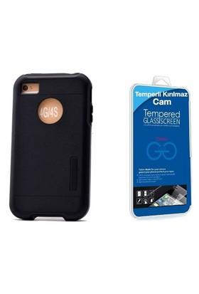 Teleplus İphone 4 Çift Katmanlı Kapak Kılıf Siyah + Cam Ekran Koruyucu