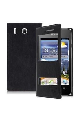 Teleplus Huawei Ascend Y320 Çift Pencereli Uyku Modlu Kılıf Siyah
