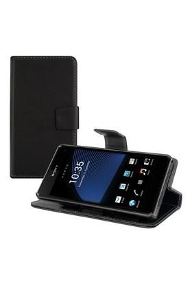 Teleplus Sony Xperia Z1 Mini Cüzdanlı Stanlı Kılıf Siyah