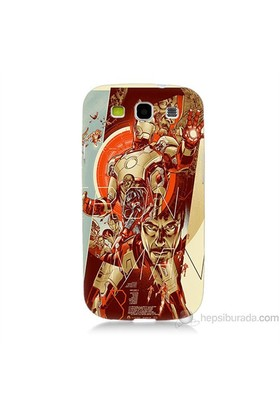 Teknomeg Samsung Galaxy S3 Kapak Kılıf İron Man Afiş Baskılı Silikon