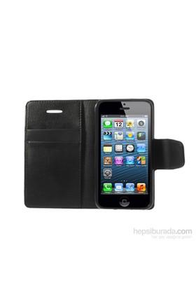 Case 4U iPhone 5/5s Siyah Kapaklı Cüzdan Kılıf
