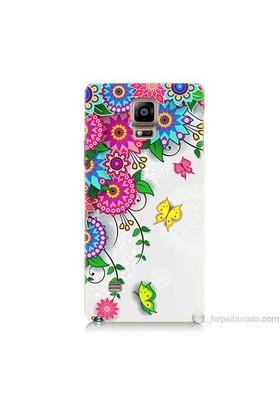Teknomeg Samsung Galaxy Note 4 Kapak Kılıf Çiçek Ve Kelebek Baskılı Silikon