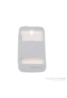 Case 4U Huawei G610 Pencereli Flip Cover Beyaz