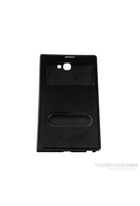 Case 4U Samsung Note 2 N7100 Pencereli Flip Cover Siyah