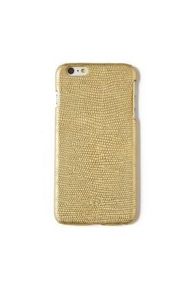 Kertenkele Baskı Altın Deri Telefon Kılıfı - İphone 6 Plus / 6S Plus