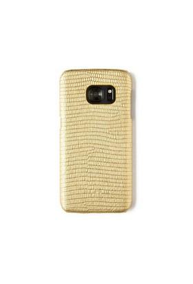 Kertenkele Baskı Altın Deri Telefon Kılıfı - Samsung Galaxy S7