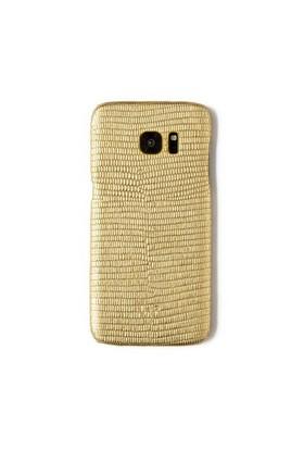 Kertenkele Baskı Altın Deri Telefon Kılıfı - Samsung Galaxy S7 Edge
