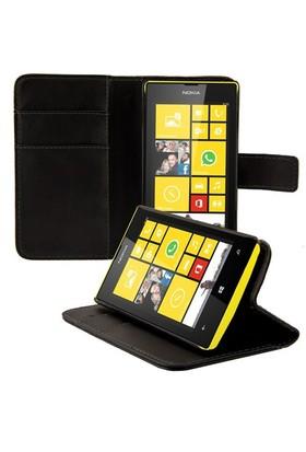 Microsonic Nokia Lumia 520/525 Cüzdanlı Standlı Deri Kılıf Siyah -CS150-WLT-STN-LUMIA-520-SYH