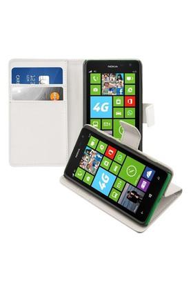 Microsonic Nokia Lumia 625 Cüzdanlı Standlı Deri Kılıf Beyaz - CS150-WLT-STN-NK-625-BYZ