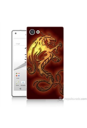 Teknomeg Sony Xperia Z5 Kapak Kılıf Dragon Baskılı Silikon