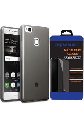 Cepsesuar Huawei P9 Lite Kılıf Silikon 0.2 Mm Siyah + Cam