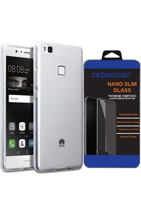 Cepsesuar Huawei P9 Lite Kılıf Silikon 0.2 Mm Şeffaf + Cam