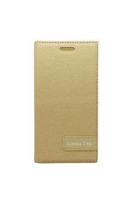 Teleplus Nokia Lumia 735 Flip Cover Kılıf Kapak Sarı