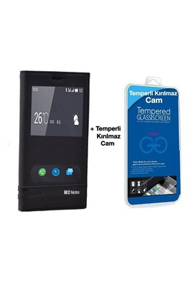 Teleplus Meizu M2 Note Mıknatıslı Çift Pencereli Kılıf Siyah + Temperli Ekran