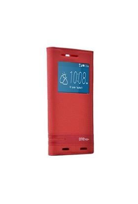 Teleplus Htc One M9 Plus Pencereli Kılıf Kırmızı