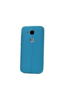 Teleplus Huawei G8 Deri Görünümlü Silikon Kılıf Mavi