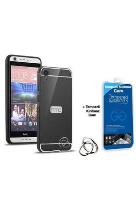 Teleplus Htc Desire 820 Aynalı Metal Kapak Kılıf Siyah + Cam Ekran Koruyucu