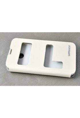 Teleplus Nokia Lumia 630 Pencereli Uyku Modlu Kılıf Beyaz