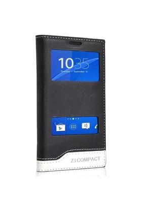 Teleplus Sony Xperia Z3 Mini Çift Pencereli Lüx Kılıf Siyah