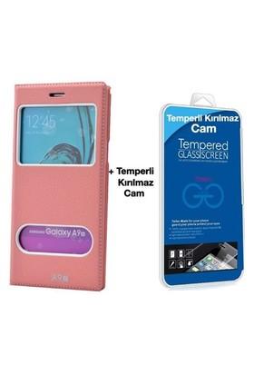 Teleplus Samsung Galaxy A9 Lux Pencereli Kılıf Pembe + Cam Ekran Koruyucu