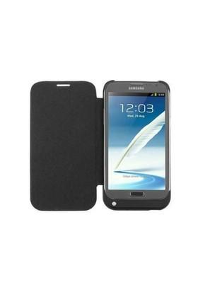 Teleplus Samsung Galaxy Note 2 Kapaklı Şarjlı Kılıf Siyah